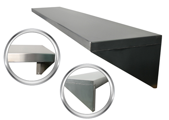 SurgiKleen® Stainless Steel Storage Shelf showing front flange and side panel