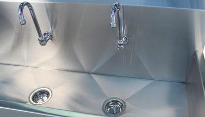 VersaKleen® Stainless Steel Floor Mount Sink goose neck faucet and sink basin detail