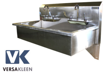 VersaKleen® Stainless Steel Wall Mount Sink with 2 Sink Bays showing VersaKleen logo