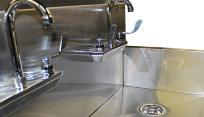 VersaKleen® Stainless Steel Wall Mount Sink with 2 Sink Bays showing goose neck faucets with wing handles detail